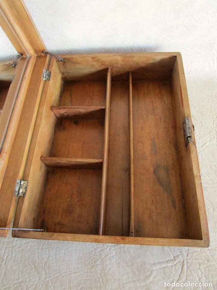 Cajas y cajitas metálicas: antigua caja madera joyero costurero restaurada! con espejo 30 cm x 22,5 cm - Foto 3 - 176285815