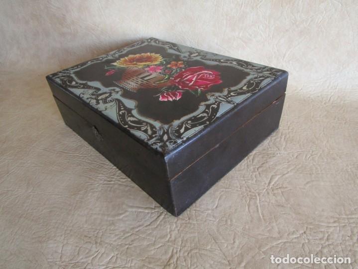 Cajas y cajitas metálicas: antigua caja madera joyero costurero restaurada! con espejo 30 cm x 22,5 cm - Foto 6 - 176285815