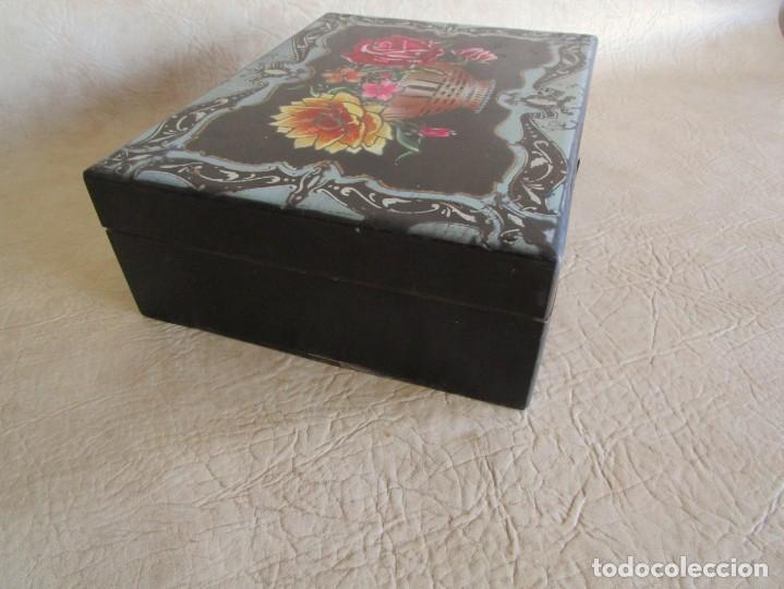 Cajas y cajitas metálicas: antigua caja madera joyero costurero restaurada! con espejo 30 cm x 22,5 cm - Foto 7 - 176285815