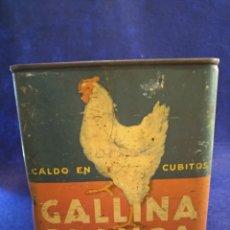 Cajas y cajitas metálicas: ANTIGUA CAJA GALLINA BLANCA, CUBITOS PARA CALDO. Lote 177186398