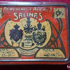 Cajas y cajitas metálicas: CAJA LITOGRAFIADA ALMENDRAS DE ALCALA DE HENARES SALINAS. Lote 177274937