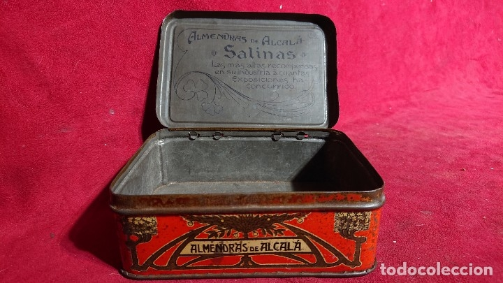 Cajas y cajitas metálicas: CAJA LITOGRAFIADA ALMENDRAS DE ALCALA DE HENARES SALINAS - Foto 6 - 177274937