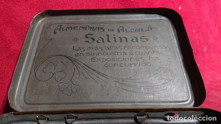 Cajas y cajitas metálicas: CAJA LITOGRAFIADA ALMENDRAS DE ALCALA DE HENARES SALINAS - Foto 7 - 177274937