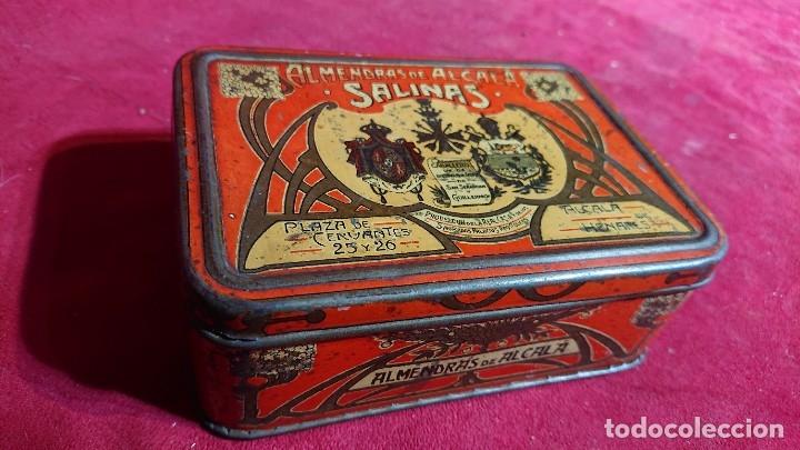 Cajas y cajitas metálicas: CAJA LITOGRAFIADA ALMENDRAS DE ALCALA DE HENARES SALINAS - Foto 9 - 177274937