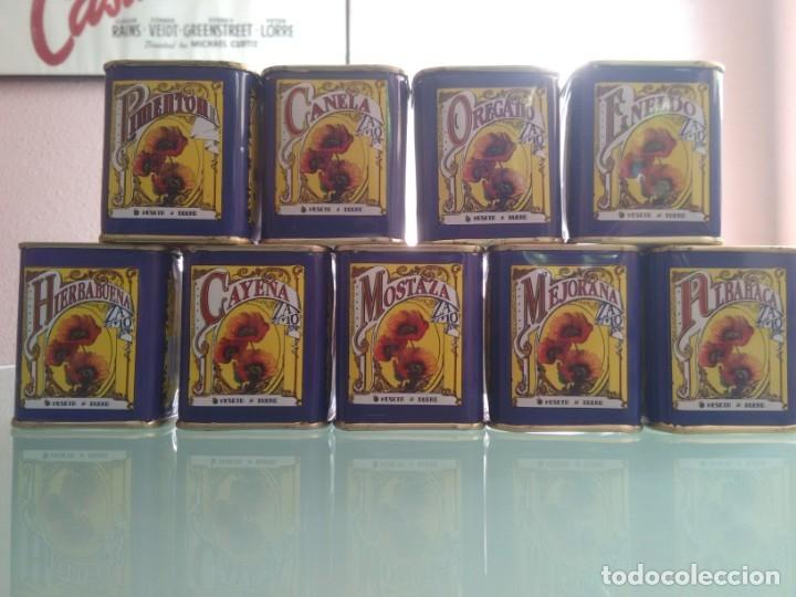Cajas y cajitas metálicas: Cajita de especias. 9. Pimentón, Canela, Orégano, Eneldo, Hierbabuena, Cayena, Mostaza, Mejorana y A - Foto 2 - 177491493