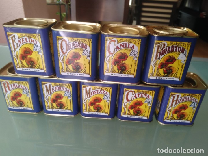 Cajas y cajitas metálicas: Cajita de especias. 9. Pimentón, Canela, Orégano, Eneldo, Hierbabuena, Cayena, Mostaza, Mejorana y A - Foto 3 - 177491493