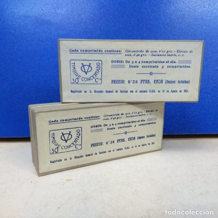 Cajas y cajitas metálicas: LOTE 2 CAJAS MEDICAMENTO CITRONITRINA CON TUBOS DENTRO - Foto 2 - 178133439