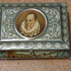 Cajas y cajitas metálicas: PRECIOSA CAJA DE LATA MIGUEL DE CERVANTES.CONFITERIA SALINAS. ALCALÁ DE HENARES MADRID.. Lote 178197756