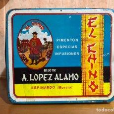 Cajas y cajitas metálicas: ESPINARDO (MURCIA) CAJA DE HOJALATA LITOGRAFÍADA EL CHINO, PIMENTÓN, ESPECIAS.. (H.1950?). Lote 178365377