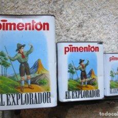 Cajas y cajitas metálicas: MURCIA ESPINARDO, LEONARDO NORTES - 3 LATAS PIMENTON ' EL EXPLORADOR ' SIN USO PREVIO + INFO. Lote 178810153