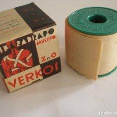Cajas y cajitas metálicas: CAJA ESPARADRAPO ADHESIVO VERKOS ZARAGOZA COMPLETA SIN USO . Lote 179003845