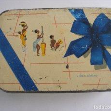 Cajas y cajitas metálicas: CAJA CARAMELOS VDA. DE SOLANO LOGROÑO AÑOS 60 - 70 . Lote 179095486