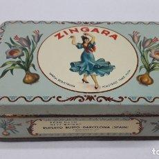 Cajas y cajitas metálicas: ANTIGUA CAJA SERIGRAFIADA DE AZAFRAN PURO - ZINGARA . RUPERTO BUSTO - BARCELONA ( SPAIN ). Lote 179137406