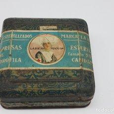 Cajas y cajitas metálicas: CAJA METAL ANTIGUA ( COMPRESAS LA HERMANA ). Lote 179164165