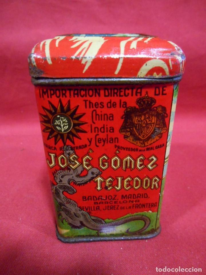 ANTIGUA CAJA METALICA TE (QUE RICO THE EL DE LA ESTRELLA) JOSE GOMEZ TEJEDOR, BADAJOZ - AÑOS 30 - (Coleccionismo - Cajas y Cajitas Metálicas)