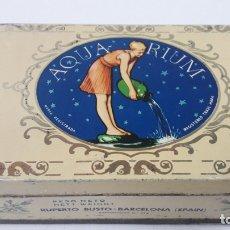 Cajas y cajitas metálicas: ANTIGUA CAJA SERIGRAFIADA DE AZAFRAN PURO - AQUA RIUM . RUPERTO BUSTO - BARCELONA ( SPAIN ). Lote 179200556