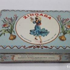 Cajas y cajitas metálicas: ANTIGUA CAJA SERIGRAFIADA DE AZAFRAN PURO - ZINGARA . RUPERTO BUSTO - BARCELONA ( SPAIN ). Lote 179200723