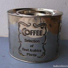Cajas y cajitas metálicas: CAJA PLATEADA PARA GUARDAR CAFE: COFFEE SELECTION OF BEST ARABICA PLANTS (12X10X10CM APROX). Lote 180451343