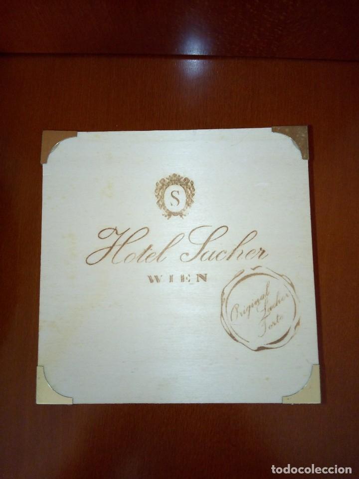 CAJA DE MADERA HOTEL SACHER DE VIENA (Coleccionismo - Cajas y Cajitas Metálicas)