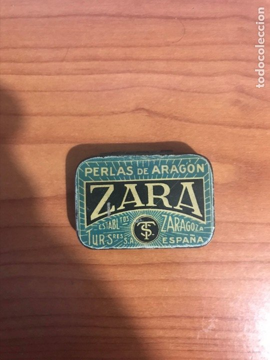 ANTIGUA CAJA METAL ZARA PERLAS DE ARAGON (PASTILLAS) ZARAGOZA (Coleccionismo - Cajas y Cajitas Metálicas)