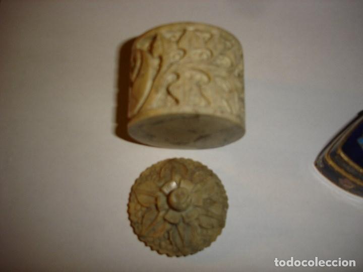 Cajas y cajitas metálicas: lote de dos bonitas cajas pastilleros siglo XIX finales en piedra y esmalte cloisonne la otraboni - Foto 2 - 181942006