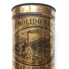 Cajas y cajitas metálicas: ANTIGUO BOTE METÁLICO DE CAFÉ MOLIDO SUPERIOR MATÍAS LÓPEZ Y LÓPEZ. Lote 182681278