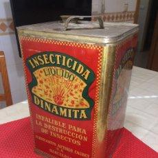 Cajas y cajitas metálicas: INSECTICIDA DINAMITA - LATA DE 10 LITROS VENTA A GRANEL - AÑOS 30 - ANTONIO CAUBET - BARCELONA. Lote 182688948