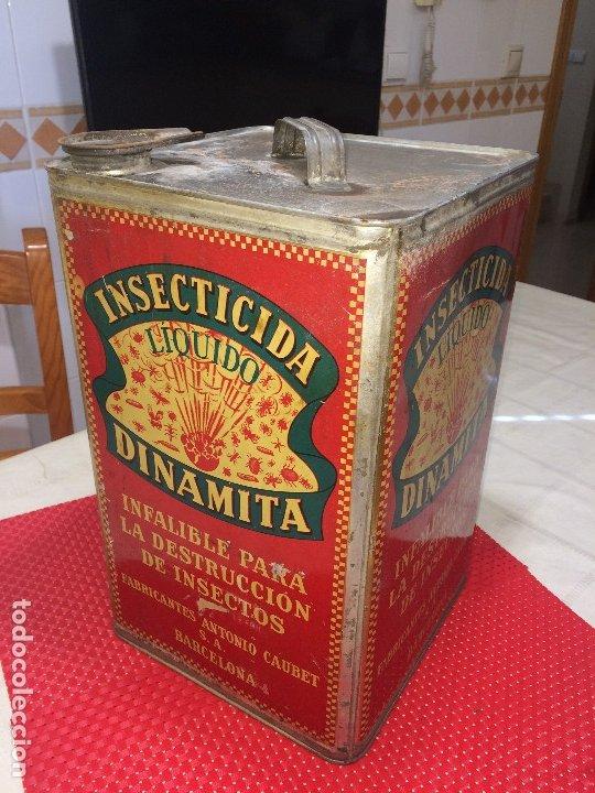 Cajas y cajitas metálicas: INSECTICIDA DINAMITA - LATA DE 10 LITROS VENTA A GRANEL - AÑOS 30 - ANTONIO CAUBET - Barcelona - Foto 2 - 182688948