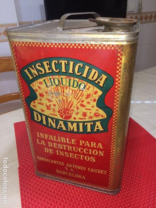 Cajas y cajitas metálicas: INSECTICIDA DINAMITA - LATA DE 10 LITROS VENTA A GRANEL - AÑOS 30 - ANTONIO CAUBET - Barcelona - Foto 3 - 182688948