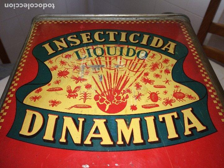 Cajas y cajitas metálicas: INSECTICIDA DINAMITA - LATA DE 10 LITROS VENTA A GRANEL - AÑOS 30 - ANTONIO CAUBET - Barcelona - Foto 4 - 182688948