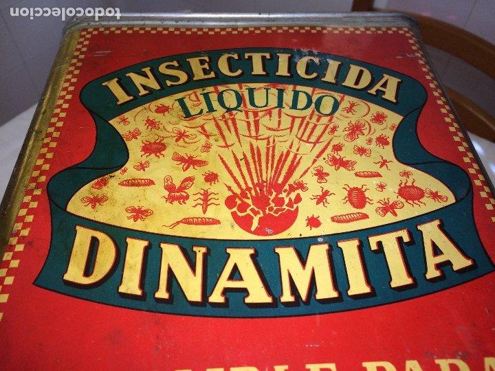 Cajas y cajitas metálicas: INSECTICIDA DINAMITA - LATA DE 10 LITROS VENTA A GRANEL - AÑOS 30 - ANTONIO CAUBET - Barcelona - Foto 5 - 182688948