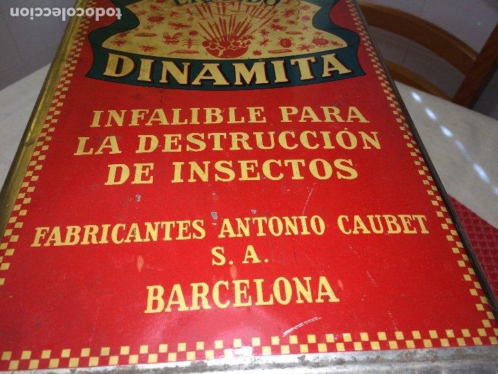 Cajas y cajitas metálicas: INSECTICIDA DINAMITA - LATA DE 10 LITROS VENTA A GRANEL - AÑOS 30 - ANTONIO CAUBET - Barcelona - Foto 6 - 182688948