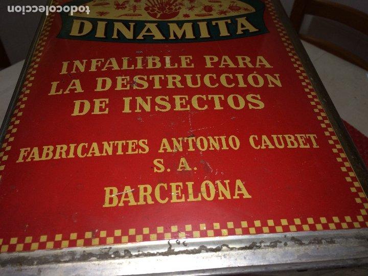 Cajas y cajitas metálicas: INSECTICIDA DINAMITA - LATA DE 10 LITROS VENTA A GRANEL - AÑOS 30 - ANTONIO CAUBET - Barcelona - Foto 7 - 182688948