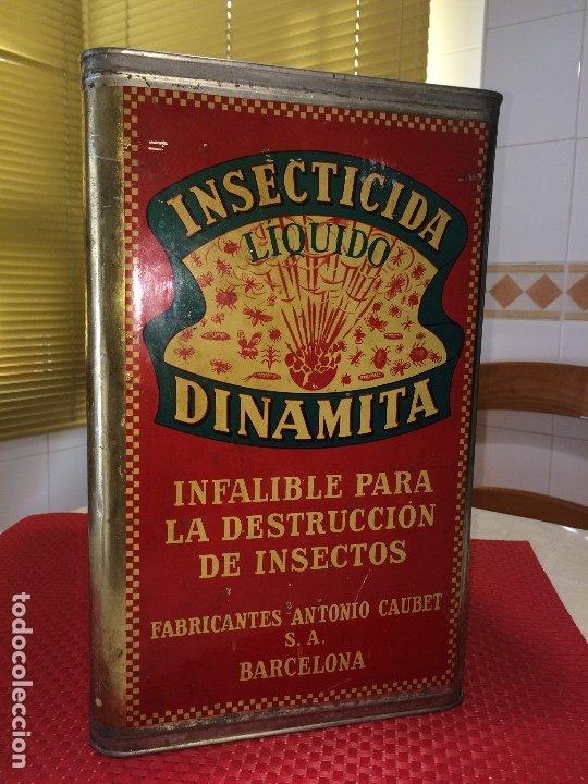 Cajas y cajitas metálicas: INSECTICIDA DINAMITA - LATA DE 10 LITROS VENTA A GRANEL - AÑOS 30 - ANTONIO CAUBET - Barcelona - Foto 10 - 182688948