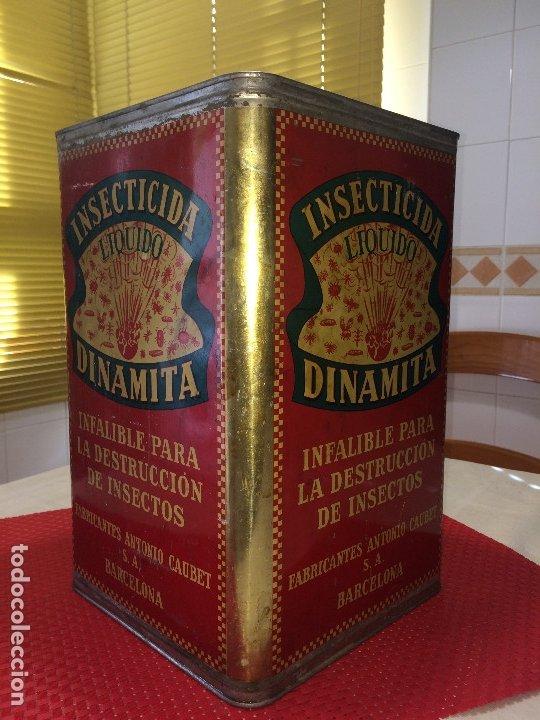 Cajas y cajitas metálicas: INSECTICIDA DINAMITA - LATA DE 10 LITROS VENTA A GRANEL - AÑOS 30 - ANTONIO CAUBET - Barcelona - Foto 11 - 182688948