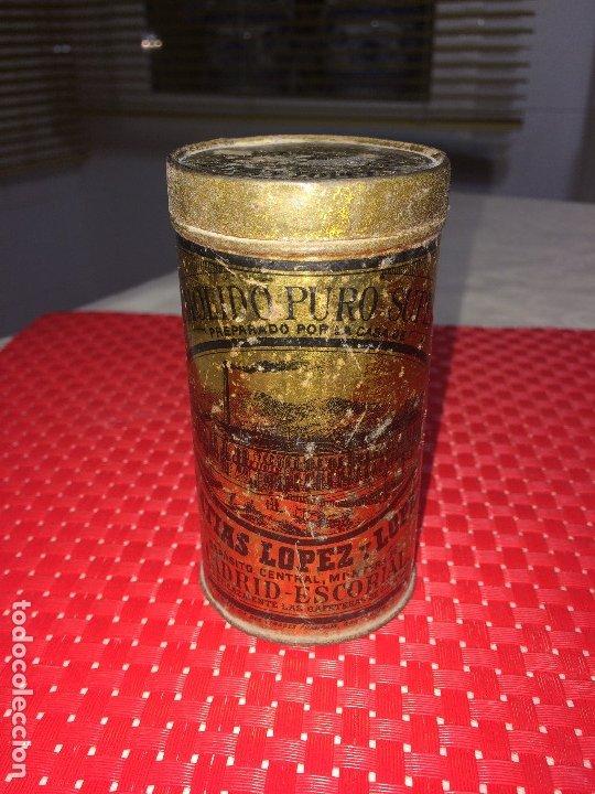 CAFÉ MOLIDO PURO SUPERIOR - MATIAS LOPEZ Y LOPEZ - MADRID - BOTE VACÍO - 400 GRAMOS - 2 PESETAS (Coleccionismo - Cajas y Cajitas Metálicas)
