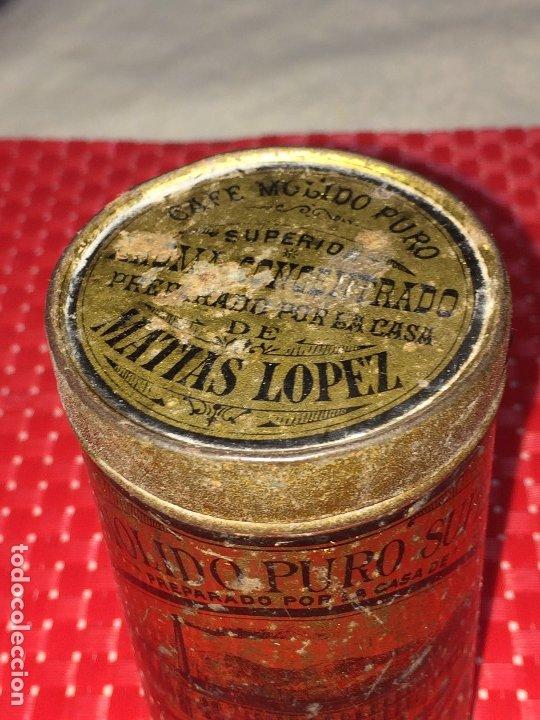 Cajas y cajitas metálicas: CAFÉ MOLIDO PURO SUPERIOR - MATIAS LOPEZ Y LOPEZ - MADRID - BOTE VACÍO - 400 GRAMOS - 2 PESETAS - Foto 2 - 183035781
