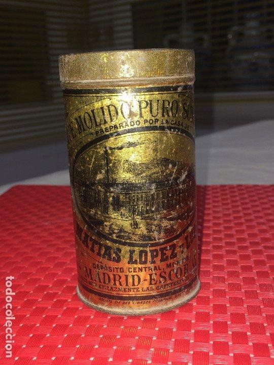 Cajas y cajitas metálicas: CAFÉ MOLIDO PURO SUPERIOR - MATIAS LOPEZ Y LOPEZ - MADRID - BOTE VACÍO - 400 GRAMOS - 2 PESETAS - Foto 6 - 183035781