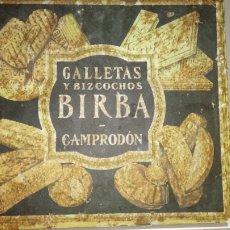 Cajas y cajitas metálicas: ANTIGUA CAJA METÁLICA DE GALLETAS Y BIZCOCHOS BIRBA (CAMPRODÓN). SURTIDO IMPERIAL.. Lote 183233210