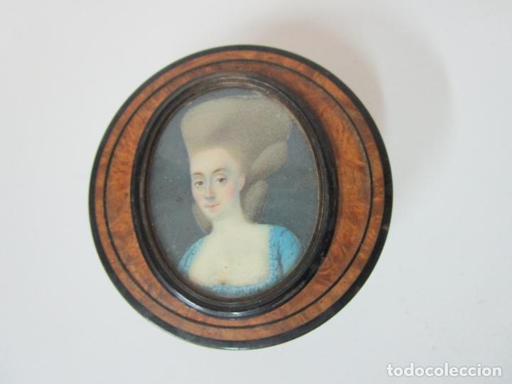 Cajas y cajitas metálicas: Preciosa Cajita de Rapé - Snuff Box - Dama - Raíz de Madera, Ébano - Interior Carey - S. XVII-XVIII - Foto 4 - 183662701