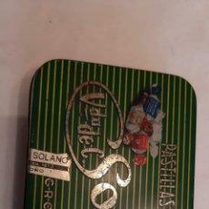 Cajas y cajitas metálicas: CAJA DE HOJALATA DE PASTILLAS CAFE VDA. DE SOLANO. Lote 183685213