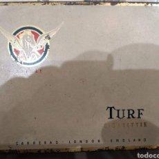 Cajas y cajitas metálicas: CAJA CIGARRILLOS TURF EXPORT CARRERAS LONDON. Lote 183770202