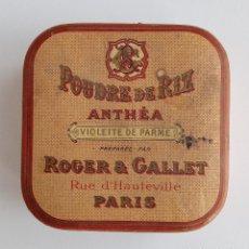 Cajas y cajitas metálicas: CAJITA POLVO DE ARROZ ANTHEA. VIOLETTE DE PARME. ROGER AND GALLET. PARIS. W. Lote 187326385