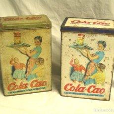 Cajas y cajitas metálicas: 2 LATAS COLA CAO AZUCAR Y CAFÉ. MED. 15 X 9,50 X 22 CM. Lote 187331972