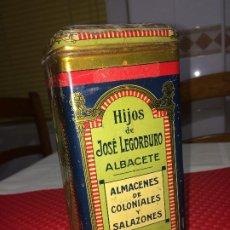 Cajas y cajitas metálicas: ESPECIAS LEGORBURO - ALBACETE - LATA DE ESPECIAS - AÑOS 30 - CON CONTENIDO DE HACE 90 AÑOS. Lote 204981996