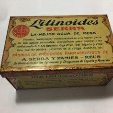 Cajas y cajitas metálicas: CAJA LITOGRAFIADA DE LITINOIDES SERRA, LA MEJOR AGUA DE MESA,BADALONA. Lote 187625618