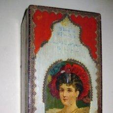 Cajas y cajitas metálicas: PRECIOSA CAJA DE MADERA MODERNISTA PARENT HERMANOS FABRICA DE DULCES Y LICORES BARCELONA 30/13/10 CM. Lote 189442040