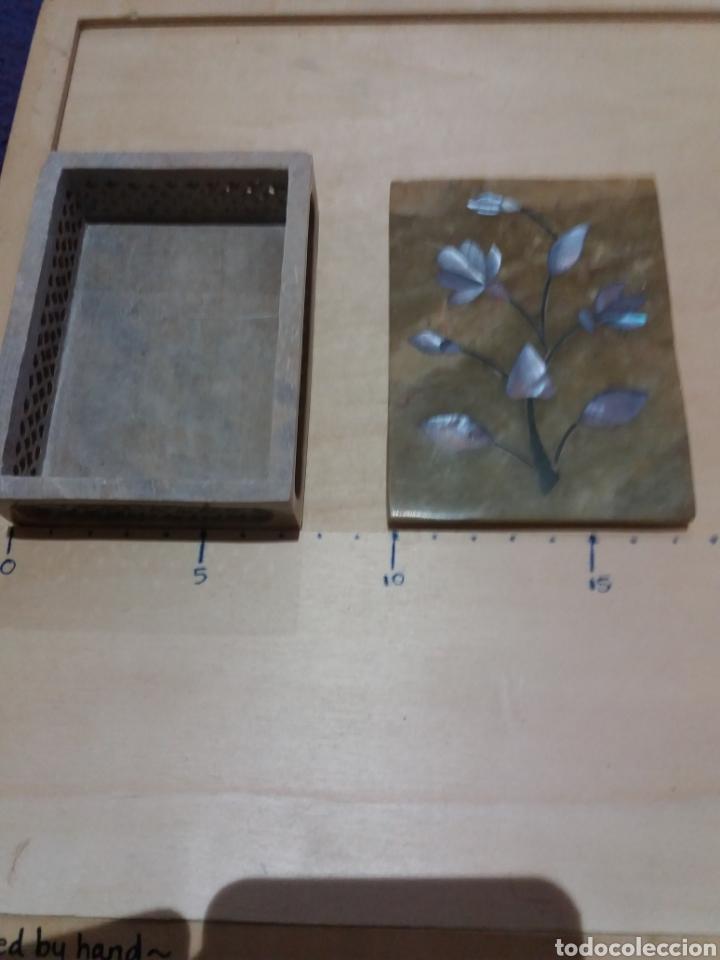 Cajas y cajitas metálicas: Cajita de mármol perfumador con incrustaciones de Nacar - Foto 2 - 189706002