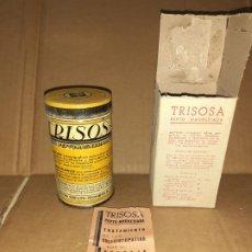 Cajas y cajitas metálicas: BOTE DE CHAPA FARMACIA TRISOSA CON CAJA Y PROSPECTO LAB. MILO ZARAGOZA // LLENO SIN DESPRECINTAR. Lote 190553060