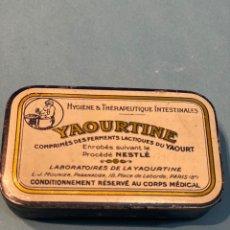 Cajas y cajitas metálicas: ANTIGUA LATA DE FERMENTOS LÁCTICOS YAOURTINE. CAJA METÁLICA ANTIGUA DE NESTLÉ. AÑO 1920. Lote 191348845